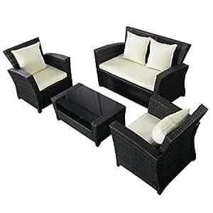 Costway 4Piezas jardín sofá de Mimbre al Aire Libre Muebles de jardín ratán Mimbre Weave sofá y Mesa Conjuntos