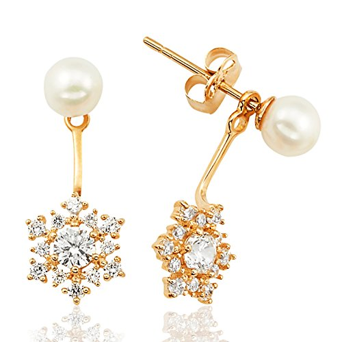 Freshwater Pearl Stud and Clustered CZ Flower Ear Jacket Earrings in 14K Yellow Gold by Jewel Connection
