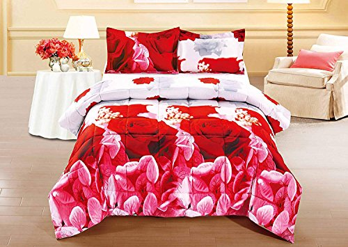 3 Piece Set Red Rose 3d Comforter Set (Y03) (King)