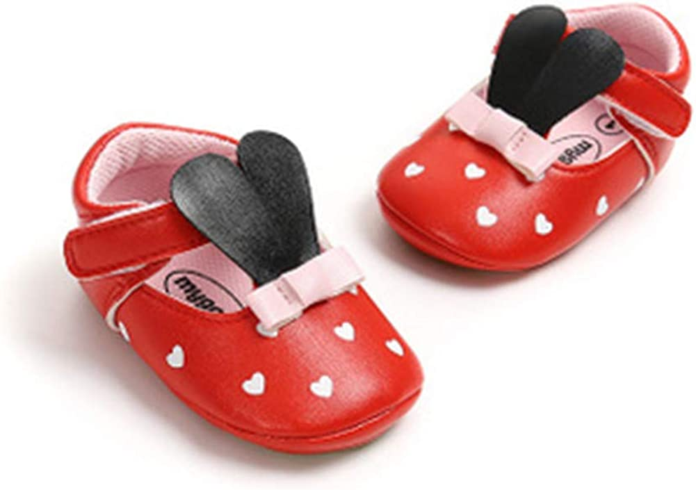 UWESPRING Baby Girls Leather Shoes Cute Cartoon Rabbit Rubber Sole with Socks