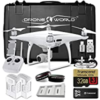 DJI Phantom 4 Pro Bundle Upgrade Kit w/ Hard Travel Case, Lens Filters, 1 Extra Battery (2 Total) Triple Battery Charging Hub, 32 GB and More