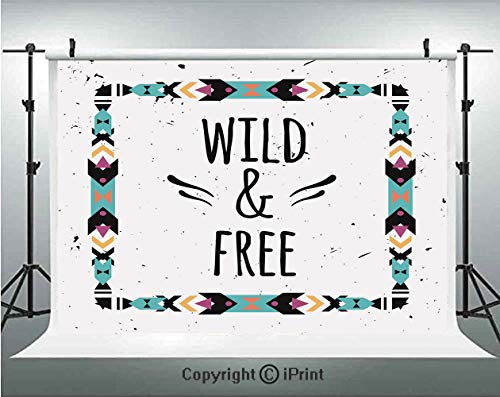 Tribal Decor Photography Backdrops Abstract Geometric Frame Wild and Free Quote Boho Style Art Print,Birthday Party Background Customized Microfiber Photo Studio Props,8x8ft,Coconut Black Turquoise