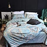 Softta European Bedding Sets Damask Paisley Pattern Duvet Cover Full 3 pcs 100% Cotton Floral Print Blue