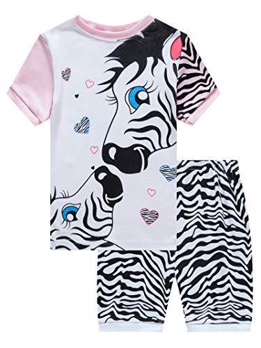 - Zebra Little Girls Short Sleeve Pajamas 100% Cotton Pjs Size 7