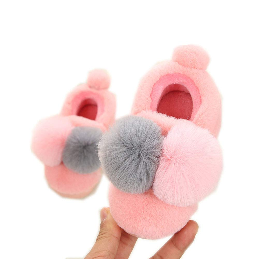 Boomly Baby Boys Girls Winter Slippers Cotton Slippers Winter Cute with 2 Pompom Non-Slip Soft Shoes First Walkers Indoor Walking Shoes Suit for 1-4 Years Old