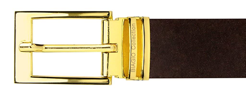 Biagio Men/'s Solid BLACK Bonded Leather Dress Belt with Silver-Tone Buckle