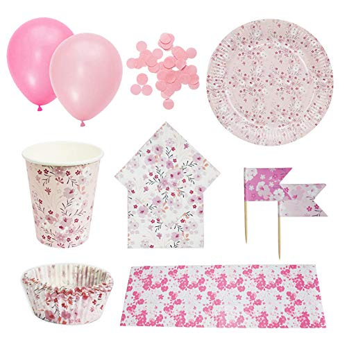 Serve 8 Guests-Party Tableware Sets Pink Cherry Blossoms Baby Girls Birthday Disposable Paper Plates Cups Napkins Cake Toppers Tablecloths Confetti Balloons Bowls (Pink)