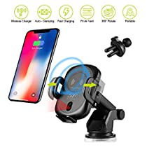 Siroflo Wireless Car Charger, Qi Fast Wirelss Charging Car Cradle Air Vent or Dashboard 10W/7.5W for Samsung Galaxy S8/S8+/S7/S6 Edge+/Note 5 et Others Qi-Enabled Devices- Black