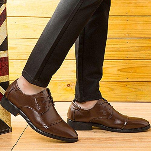 nihiug Chaussures en Cuir Marron pour Hommes Brogue Business Lace-up Chaussures Casual Chaussures Habillées De Grande Taille Chaussures pour Hommes Brown gIv4gFsa