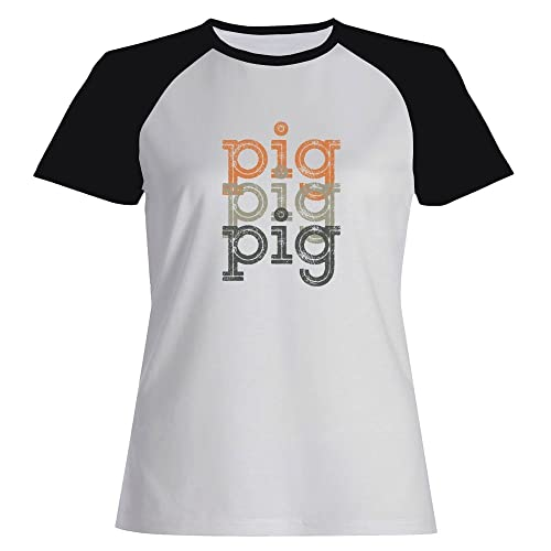 Idakoos Pig repeat retro - Animali - Maglietta Raglan Donna