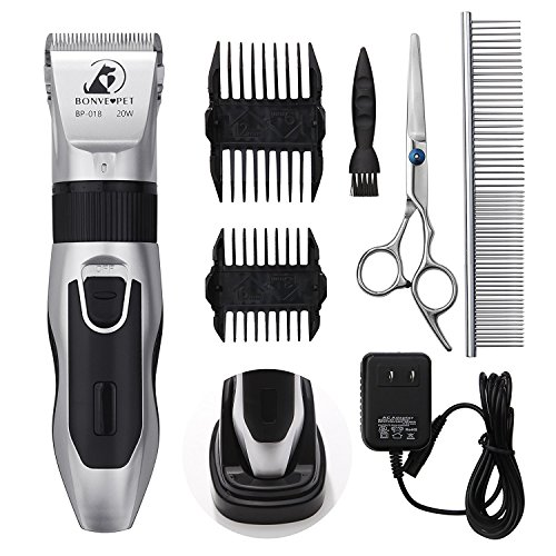 Dog Grooming Clippers - Cordless Quiet Pet Hair Clippers Trimmer Rechargeable with Stainless Steel Blades Dog Comb Shears Best Professional Hair Clipper Set for Dogs Cats Pets Long Short Hair ¡­