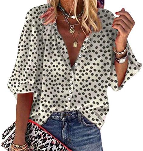 Onsoyours Camicia Donna Elegante Manica Lunga Primavera Estive Bottoni Chiffon Bluse Elegantei Casual Stampa Taglie Forti Tops Blusa