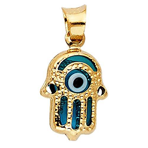 Yellow Gold Hamsa Pendant (14k Yellow Gold Evil Eye Hamsa Pendant)