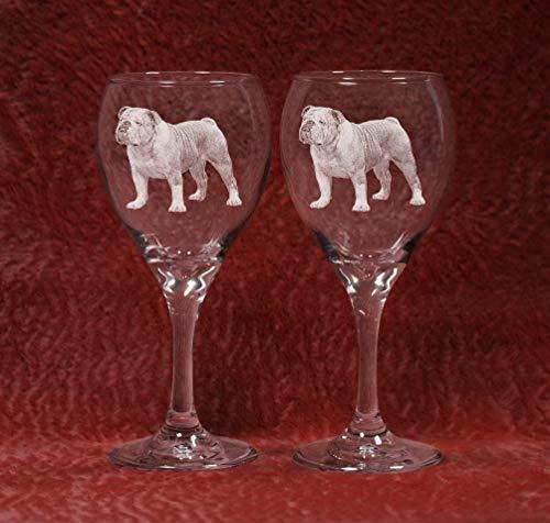 Muddy Creek Reflection English Bulldog Laser Etched Wine Glass Set (2, TDW)