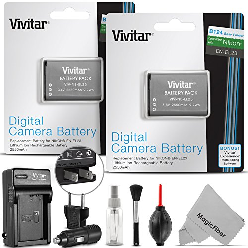 Shot Digital Camera Rechargeable Battery (2 Pack Vivitar EN-EL23 Battery and Charger Kit for Nikon Coolpix P900, P600, P610, B700 and S810c (100% Compatible, Fully Decoded 2550mAh Rechargeable Lithium-Ion Batteries))