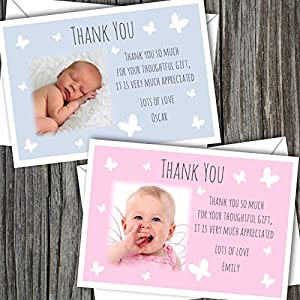Personalised New Baby Photo Thank You Cards Boy Girl Birth Announcement (SBD44)