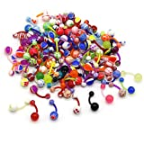 CrazyPiercing Assorted Lot of 100PCS Banana Piercing 14G Belly Button Rings Piercing Jewelry