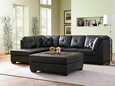 Contemporary Black Leather Sectional Sofa Left Side Chaise by Coaster : leather sectional - Sectionals, Sofas & Couches