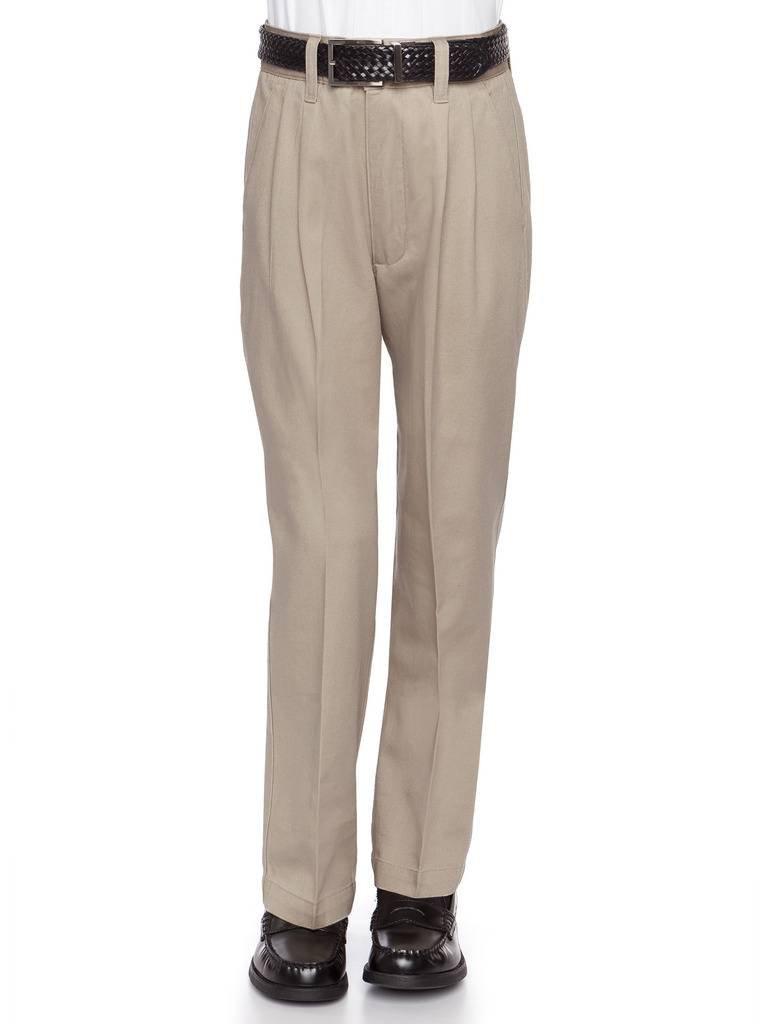 AKA Boys Flat Front Traditonal Fit Cotton Twill Pants Khaki Non-Elastic 18