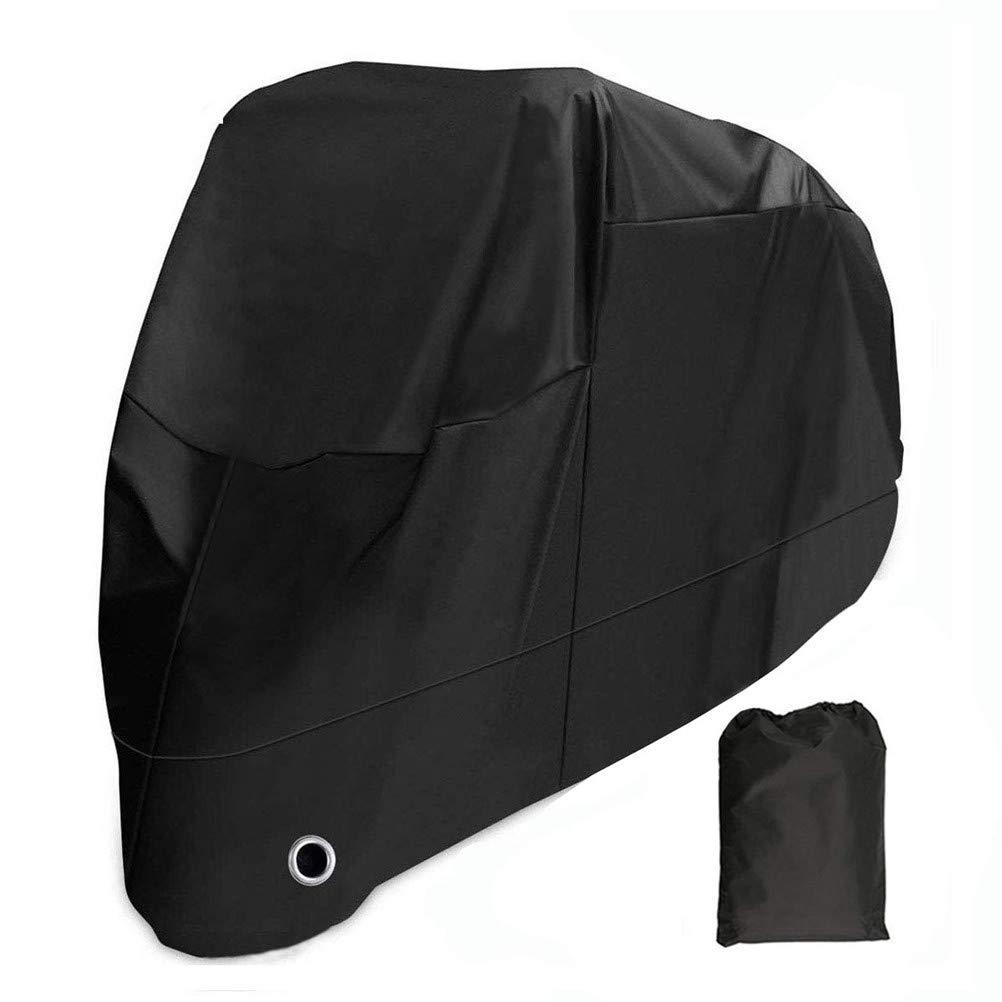 KOKOMALL Funda para Moto Protectora Cubierta de Motocicleta Impermeable 210D Exterior a Prueba de Polvo Anti UV con Agujeros de Bloqueo Negro 4XL 295 x 110 x 140 cm