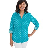 Chico's Women's No-Iron Shell Hardware Shirt Size 12/14 L (2) Teal Blue