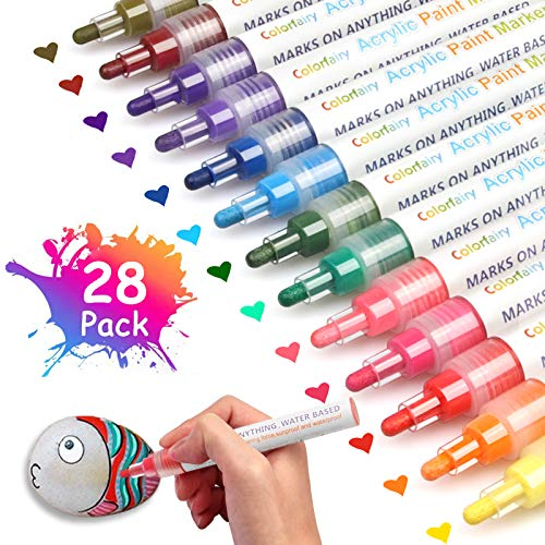 28 Colors Acrylic Paint Marker Pens with 3-5mmReversible Tip, Colorfairy Water Based Paint Setfor Rock Painting, Ceramic, Glass, Wood, Metal, Canvas, Fabric