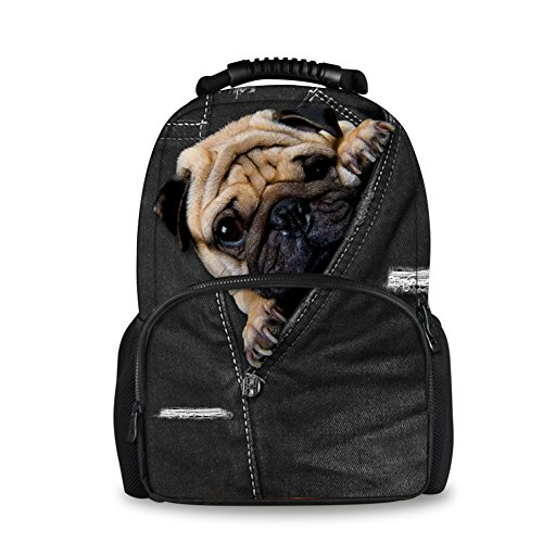 Coloranimal Fashionable Women Denim Backpacks Shar Pei Dog Kids School Laptop Bags