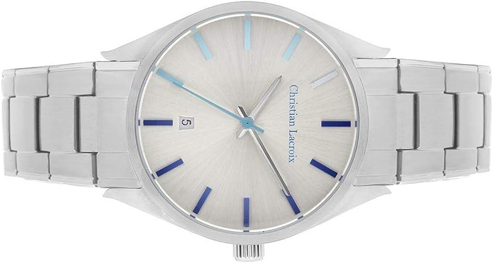 Christian Lacroix Miyota 2115 - Reloj analógico de cuarzo con correa de acero inoxidable y esfera de 38 mm