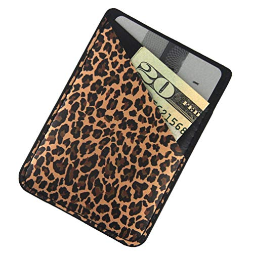 Ac.y.c Phone Card Holder, Ultra Thin PU Leather 3M Adhesive Stick-on ID Credit Card Wallet Sticker Case Pouch Pocket for Back of iPhone,Android and Smartphones (Leopard#2) best to buy