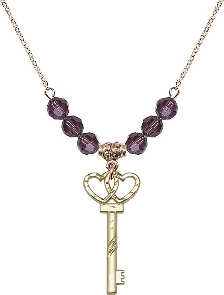 18-Inch Hamilton Gold Plated Necklace with 6mm Amethyst Birthstone Beads and Small Key w//Double Hearts Charm Purple February Birthstone