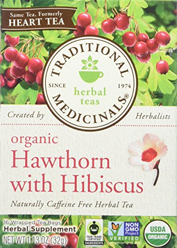 Traditional Medicinals Hawthorn with Hibiscus, 16 Count (Pack of 6)