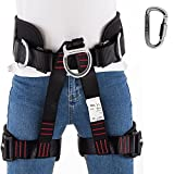 Climbing Harness,Half Body Harness Safe Seat Belt For Rock Climbing/Mountaineering/Fire Rescue/Working on the Higher Level/Rappelling Equip-with FREE Locking Carabiner (Black)
