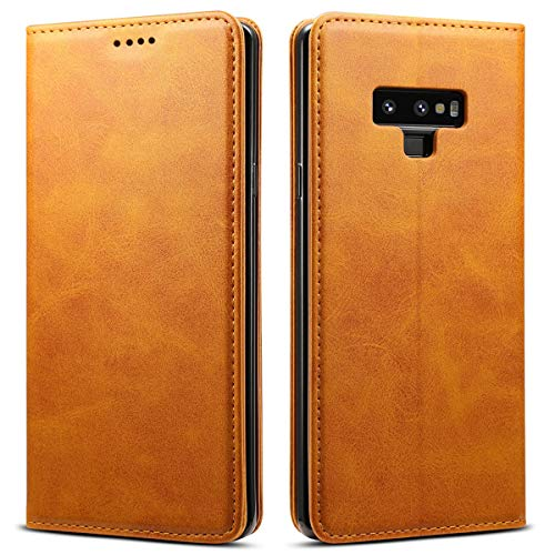 Leather Wallet Case for Samsung Note 9 Book Style Kickstand Flip Cover Yellow Case by SUTENI