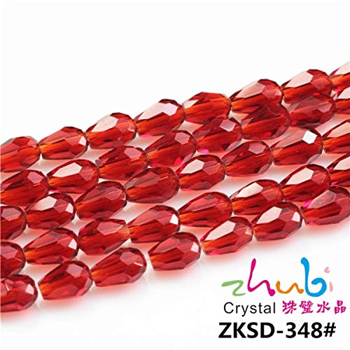 Pukido Drop Beads Loose Crystal 3 4 6 8 10 12mm Glass Teardrop Lampwork Beaded Red Craft Materials DIY Make Necklaces Jewelry - (Color: deep red, Item Diameter: 8x12mm ()