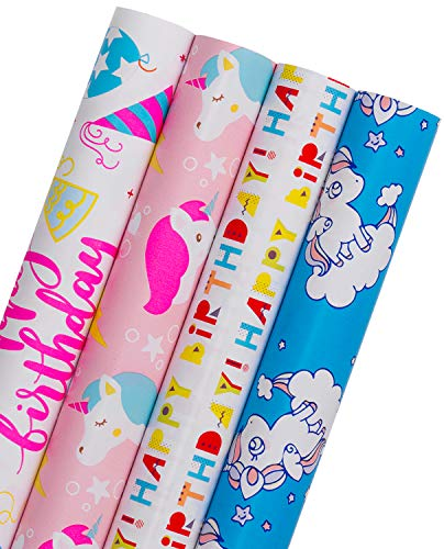 - WRAPAHOLIC Gift Wrapping Paper Roll - Unicorns and Colorful Celebration Design with Cut Lines for Kids Birthday, Party, Baby Shower Gift Wrap - 4 Rolls - 30 inch X 120 inch Per Roll