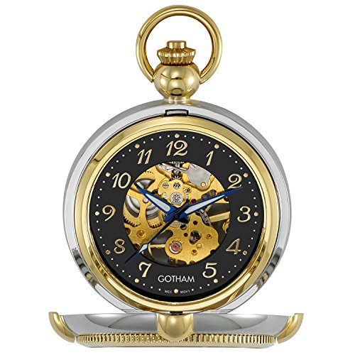 Gotham Men's Two-Tone Photo Insert Skeleton Pocket Watch with Built-in Stand # GWC14062TA
