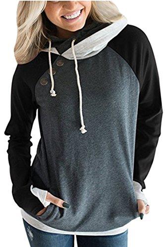 KAKALOT Womens Casual Color Block Hooded Sweatshirt with Thumb Holes