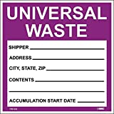 National Marker Corp. HW30SL100 Self-Laminating Labels, Universal Waste In Purple, 6 Inch X 6 Inch, PS Vinyl, Bx100