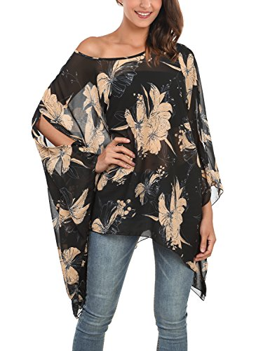 - DJT Women's Floral Printed Chiffon Caftan Poncho Tunic Top One Size Black #2