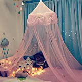 Didihou Mosquito Net Canopy Bed Curtains Star Embroidered Dome Princess Bed Tent for Girls Kids, Indoor Game House (Star)