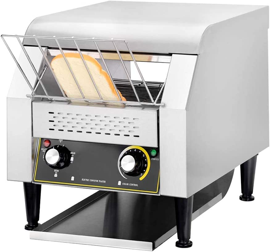 Rbaysale Commercial Conveyor Toaster, 420pcs/h Heavy Duty Bread Toaster Oven Baking Container 11.3 x 3.5in, 1940W