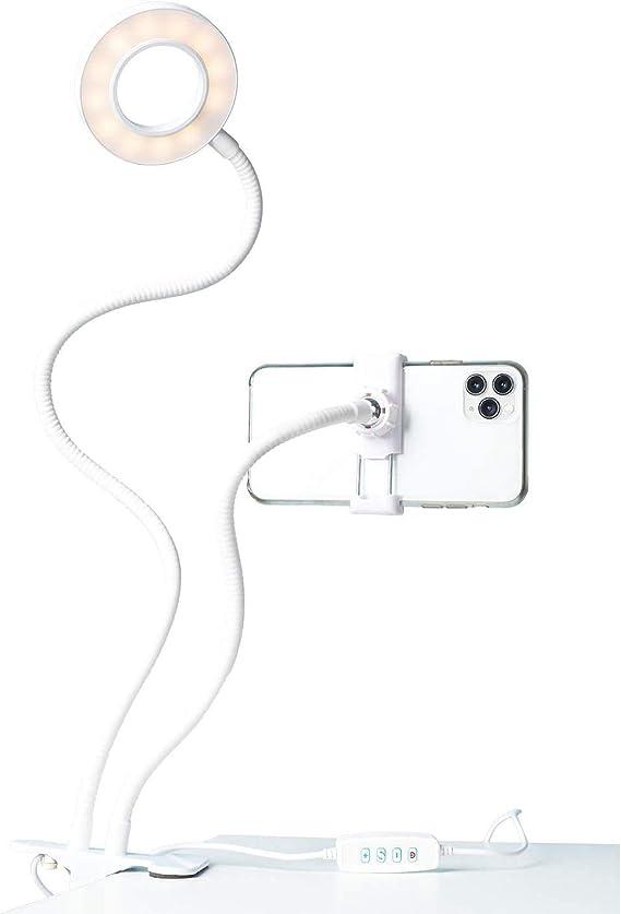 LITTIL Shine - Minimalist Selfie LED Ring Light with Desk Clip and Cell Phone Holder in White for Zoom Calls, Webinars, Skype, Videos, Stories, Reels, TikTok, FaceTime, Selfies