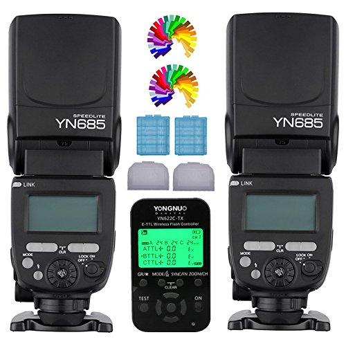 YONGNUO YN685 Wireless Flash Speedlite 2PCS + YN622C TX Wireless TTL Flash Trigger Transceiver Controller For Canon Eos Digital SLR Cameras by Yongnuo
