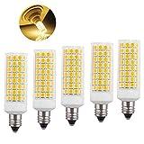 Kinglight 5-Pack JD E11 Led Bulbs 7W (100W 150W Ceiling Fan Halogen Bulb Equivalent), T4 JD E11 Mini Candelabra Base, Dimmable 1000Lm Warm White 2700K for Chandeliers, Ceiling Fan Light,Home Lighting