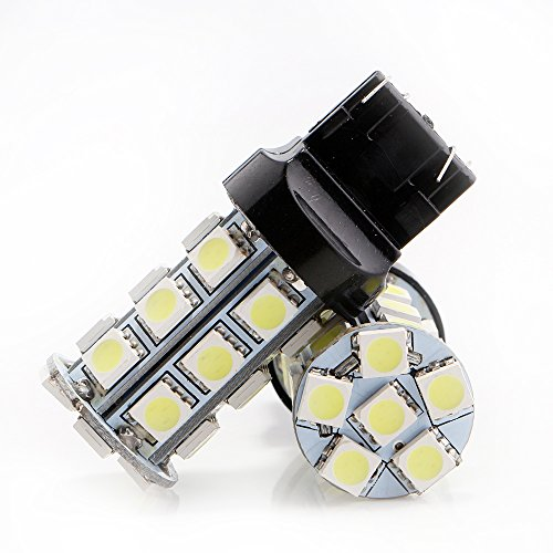 Grandview Amber 7443 7444NA Wedge Base 5050 18SMD LED Replacement Bulb RV SUV MPV Car Turn Tail Signal Brake Light Lamp Backup Lamps Bulbs Exterior (Pack of 2) (Amber Wedge Base)
