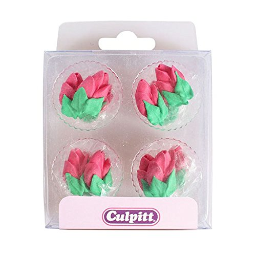 Culpitt 12pc PINK ROSE BUD Edible Cupcake Cake Sugar Pipings Decorations (Rosebud Kitchen)