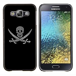 EJOOY---Cubierta de la caja de protección para la piel dura ** Samsung Galaxy E5 E500 ** --Pirate Regístrate Flag Ship cráneo Espadas Símbolo Arte