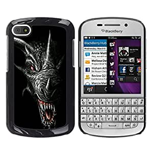 For BlackBerry Q10 Case , Dragon Teeth Scary Black Horn - Diseño Patrón Teléfono Caso Cubierta Case Bumper Duro Protección Case Cover Funda