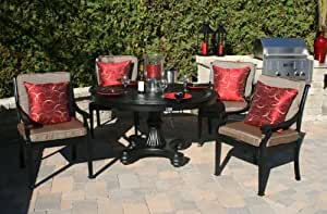 The Moncler Collection 4-Person All Welded Cast Aluminum Patio Furniture Dining Set