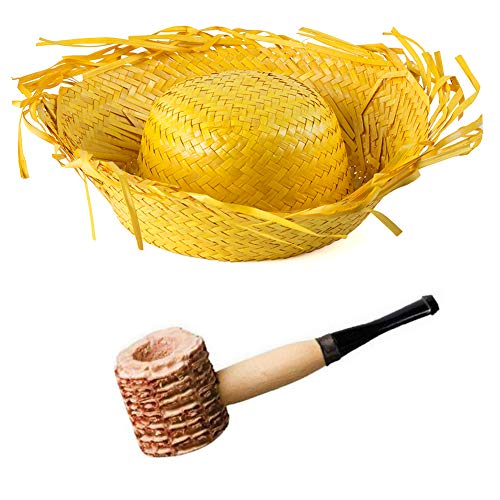 Funny Party Hats Beachcomber Hat - 2 Pc Set - Farmer Hat and Corn Pipe - Birds Nest Hat - Straw Costume Hat for Adults]()